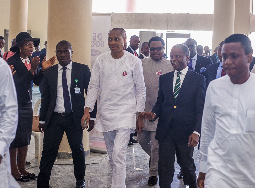 VP Osinbajo arrives Dunamis Glory Dome with Aso Villa Chaplain, Pastor Seyi Malomo flanked by MD. Niger Delta Power Holding Company -NDPHC, Chiedu Ugbo.